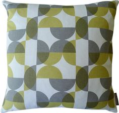 NEW half circles cushion in yellow and grey by roddyandginger