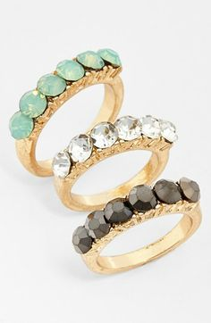 I loooove them.... Stone Rings (Set of 3) available at #Nordstrom