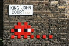 Taking his inspiration from and video games (his name is derived from the 'Space Invaders' arcade game), French artist Invader is interesting in a variety of ways,… Urban Street Art, Best Street Art, Art Banksy, Graffiti, Pixel Art, King John, French Street, Game Themes, What To Draw