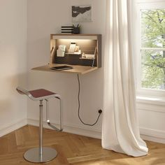 Flatbox Wall Desk by Müller Möbelwerkstätten Wall Mounted Desk, Wall Desk, Desk Shelves, Shelving, Desks For Small Spaces, Tiny Spaces, Murphy Desk, Fold Down Table, Space Saving Desk