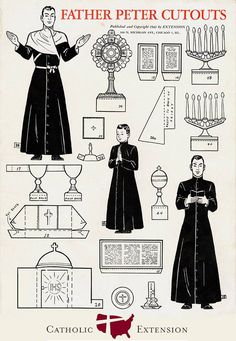 Meet Father Peter, a paper doll Catholic priest from a cutouts booklet for children produced by Catholic Extension in 1943. Kids could have hours of fun reenacting the pre-Vatican II Mass with Father Peter and Altar Boy Paul's various cutout vestments and liturgical accessories. There was even a pop-up altar to assemble! See all the original pages: