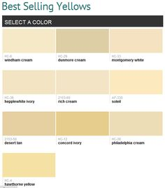 Best selling yellows (Benjamin Moore), I really like Soleil, it's a nice subtle amount of yellow that I think would look great throughout the living area of the house.