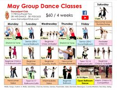 May group dance class schedule. Ballroom, Latin, Salsa, Country and Ballet for adults and kids. Beginner Stretches, Ballroom Dance Lessons, Kids Dance Classes, Social Dance, Group Dance, Ballet Class, Class Schedule, Salsa Dancing, Best Dance