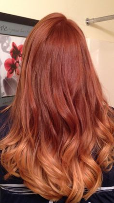 Red color melting hair/ombre, This is the first time I've seen this with red hair! #haircuts