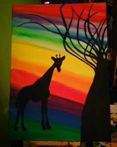 Giraffe rainbown acryl paint
