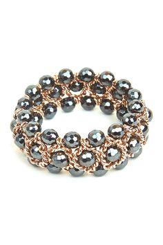 Hematite Bead Stretch Bracelet by Milor Jewelry on @HauteLook $119.97 alternate view