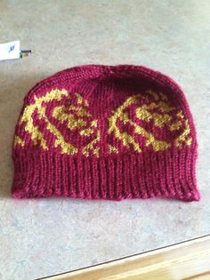 Hogwarts Gryffindor knit hat. For the Lion in all by Woolycricket, $12.00