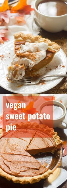 This rich and creamy vegan sweet potato pie is infused with the flavors of chai tea and and topped off with whipped coconut cream topping!