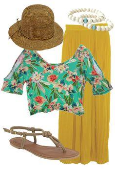 Hawaiian Honeymoon Crop Top, Maniac Sandal, Finders Keepers Skirt, Bijouterie Bracelet, Hat Attack Raffia Crusher Hat