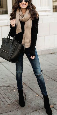 #fall #outfits women's black long-sleeved shirt and black leather handbag