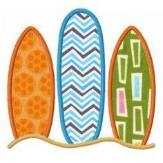 summer surf surfboards applique machine embroidery designs