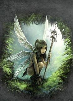 tribal girl warrior nature child fantasy illustration fairy tale wings design painting art