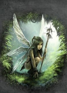 tribal girl warrior nature child fantasy illustration fairy tale wings design painting art