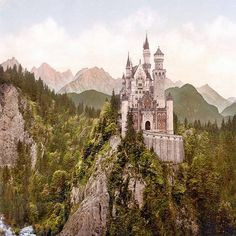 Neuschwanstein Castle (German: Schloss Neuschwanstein, lit. New Swan Stone palace,  is a 19th-century Bavarian palace on a rugged hill near Hohenschwangau and Füssen in southwest Bavaria, Germany.