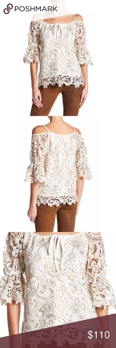 "❗️1 HR Sale❗️Gorgeous Fleurette Embroidered Blouse This beautiful Blouse features an embroidered overlay with beaded detailing, cold shoulders, scalloped hem, self front ties, long flutter cuff sleeves, lined. Made in the USA 🇺🇸 approx length 27"" Bust:32"" waist:23"" hips:35"" Voom by Joy Han Tops Blouses"