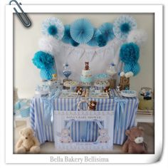 Teddy bear baby shower party! See more party planning ideas at CatchMyParty.com!