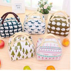 SaicleHome Lunch Tote Bag Picnic Cooler Insulated Handbag Classic Hand-held Storage Containers
