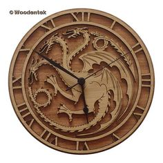 Handmade Game of Thrones Wood Wall Clock - House Targaryen