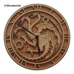 Handmade Game of Thrones Wood Wall Clock - House Targaryen