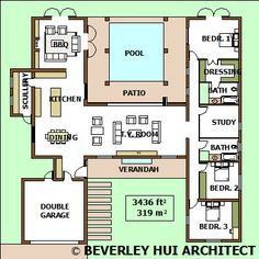 H-SHAPED HOUSE PLANS WITH POOL IN THE MIDDLE pG2