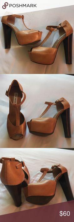 "Steve Madden Daquirii Peep Toe Steve Madden Daquirii Peep Toe Platform Sandal in Cognac Leather with a 5.5"" heel and 1.5"" platform. Worn once, barely noticeable! Steve Madden Shoes Heels"
