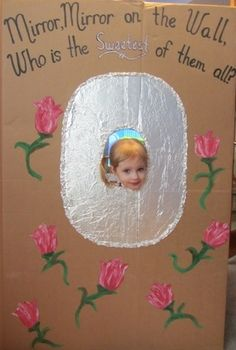 Handmade cardboard photo party prop fit for a princess party! Clever and creative mom blogs her parties at  www.craftyparty.webs.com/princesses - tons of photos and ideas!
