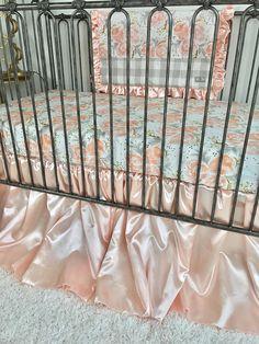 Blush Dramatic Crib Skirt, Elegant Satin Peachy Blush Crib Skirt, Blush Rustic Crib Skirt, Ritzy Baby Crib Skirt.