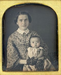 Young Happy Mother Daguerreotype by Mirror Image Gallery (Mother's hair is parted on the side. Dress appears 1850s)