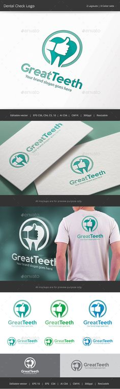 Great Teeth Dental  Logo Design Template Vector #logotype Download it here: http://graphicriver.net/item/great-teeth-dental-logo/13003975?s_rank=1621?ref=nexion