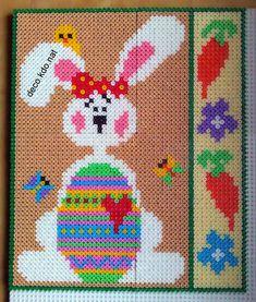 DECO.KDO.NAT: Perles hama: tableau pâques lapin