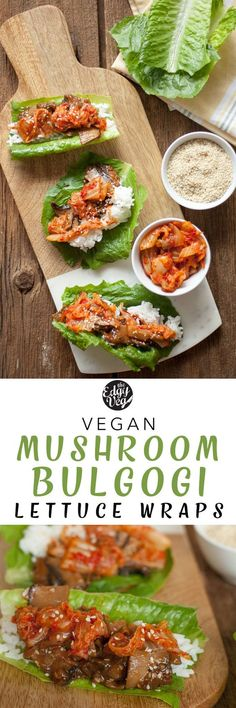 VEGAN Mushroom Bulgogi lettuce wraps | These vegan bulgogi lettuce wraps are a quick and easy dinner idea, perfect for a family style meals. The vegan bulgogi is made of mushrooms, marinated and cooked in a homemade tangy Korean BBQ sauce. This easy, gluten-free dinner recipe is made from kitchen staples and is cooked in an Instant Pot! The vegan bulgogi is serves on fresh boston lettuce and served with vegan kimchi. It's the easiest meal you'll make this week!