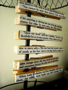 Pride and Prejudice text clothespins, set of 6 by Brookish @ Etsy.