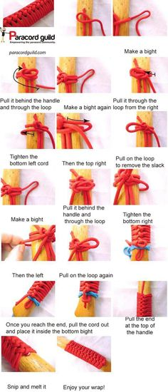 A tutorial on the paracord axe handle wrap. - A tutorial on the paracord axe handle wrap. Paracord Knots, Rope Knots, Paracord Bracelets, 550 Paracord, Paracord Weaves, Survival Bracelets, Axe Handle, Paracord Projects, Paracord Ideas