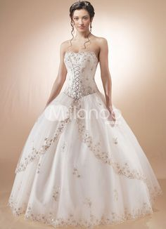 Ball gown that comes in several colors. Much cheaper than most wedding dresses.