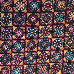 Stained glass flowers blanket consists of 36 tiles. At least two different color combinations are recommended. You'll need at least 11 colors + black. My blanket weighs 1720g and measures 150cmx150cm, and I've used a variety of merino wool yarns (weight 100-120m/50g) and a 4mm hook.