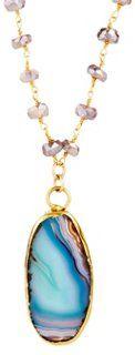 Avindy Blue Lace Agate Pendant Necklace | Onekingslane.com