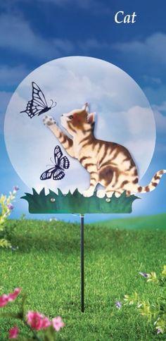 Silhouette Cat Playing with Butterflies Solar Powered Garden Stake Yard Decor #GardenStake #Adorable #CatSilhouette #YardStake #Lights #SolarPowered #Sparkling #DoorDecor #YardDecor #Stake #GardenDecor #Outdoor #HomeDecor