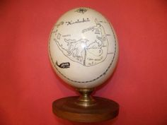 Scrimshaw Ostrich Egg of Nantucket by Ken Sprague item as5422 - Antique Scrimshaw, Nautical Antiques & Whaling Antiques, Marine Art