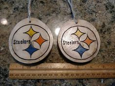 One Steelers wood burned ornament with twine loop for hanging. These ornaments are made out of wood gathered from fallen limbs on our (and our extended familys) property. No trees are cut down to make my ornaments. Some wood discs are more weathered than others. These discs have the Christmas Wood, Christmas Ornaments, Wood Discs, Wood Slices, Wooden Crafts, Wood Burning, Twine, Making Out, Burns