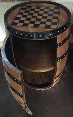 "Solid Oak Whisky Barrel ""Balmoral"" Chess Board Drinks Cabinet in Home, Furniture & DIY, Furniture, Cabinets & Cupboards | eBay"