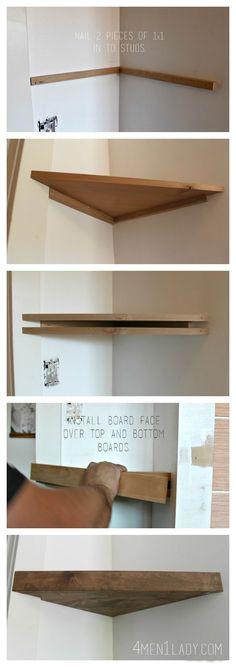 How to make corner floating shelves. 4men1lady.com: