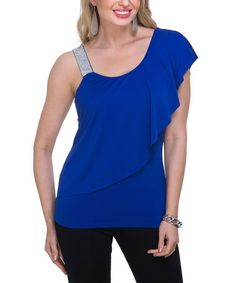 Look what I found on #zulily! Royal Blue Embellished Drape Top - Women #zulilyfinds