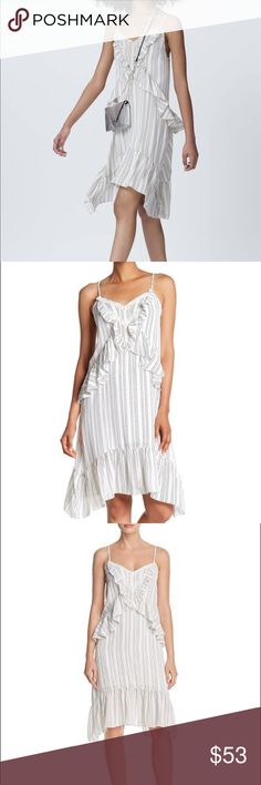 ed70be6ab967 Rebecca Minkoff Taylor Striped Ruffle Dress NWOT Size 6 Color-black and  white stripes Ruffles