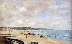 Hand painted reproduction of Beach at Trouville painting. This masterpiece was painted originally by Boudin Eugene. Commission your beautiful hand painted reproduction of Beach at Trouville. Eugene Boudin, Honfleur, Hermitage Museum, Camille Pissarro, Edgar Degas, Impressionist Art, Paul Cezanne, Oil Painting Reproductions, Seascape Paintings