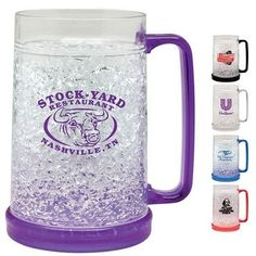 LOVE' N The Freezer Mugs, stick them in the Freezer and pull it out when cold! Great Advertising Mug! Football Party Time!! Promotional 18 oz. Acrylic Frosty Freezer Mug.