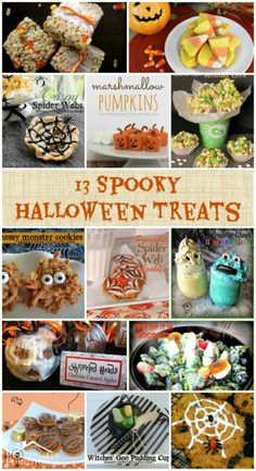13 Spooky Halloween Treats! like the idea of putting candy corn into rice krispie treats and also the one with the pretzel rolo polo choc and pecan