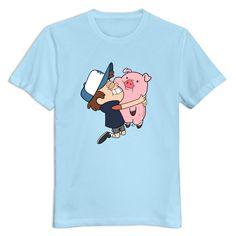 from El Corte Inglés · Men Gravity Falls Dipper Hugging Waddles Custom 100%  Cotton DeepHeather T-Shirts By Mjensen d897355b6a7