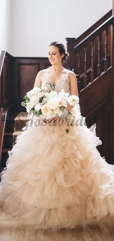 Gorgeous Lace V-neck Ruffles Tulle Ball Gown Wedding Dresses – SposaBridal Muslim Wedding Dresses, Western Wedding Dresses, Bridal Dresses, Wedding Gowns, Wedding Dressses, Wedding Shoes, Lace Wedding, Tulle Ball Gown, Ball Dresses