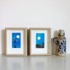 Monotipos originales. Mas imagenes en https://www.etsy.com/es/listing/465217335/laminas-monotipos-originales-fondo-azul