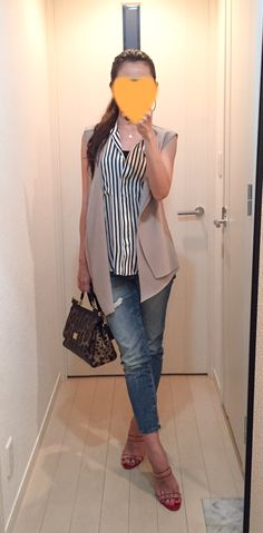 Vest: ZARA, Shirt: Ballsey, Jeans: GAP, Bag: Dolce & Gabbana, Sandals: Manolo Blahnik